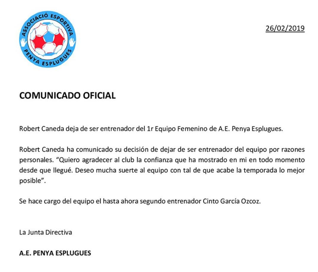 Robert Caneda, deja de ser entrenador de Penya Esplugues