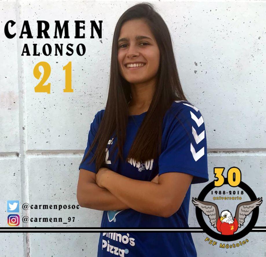 """Carmen Alonso (Jugadora FSF Móstoles):"""" Todavía queda mucha liga y sabemos que somos capaces de ganar a cualquier equipo."""""""