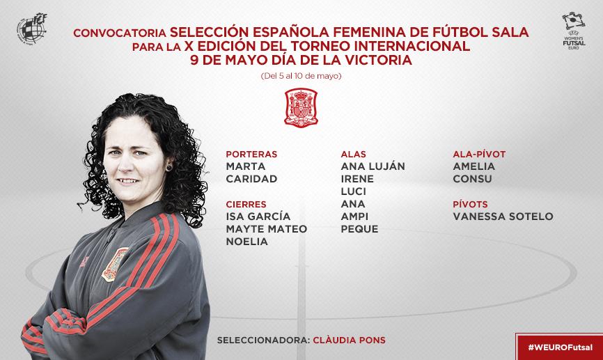 Convocatoria de la Selección Española Femenina de fútbol sala para el Torneo de Moscú