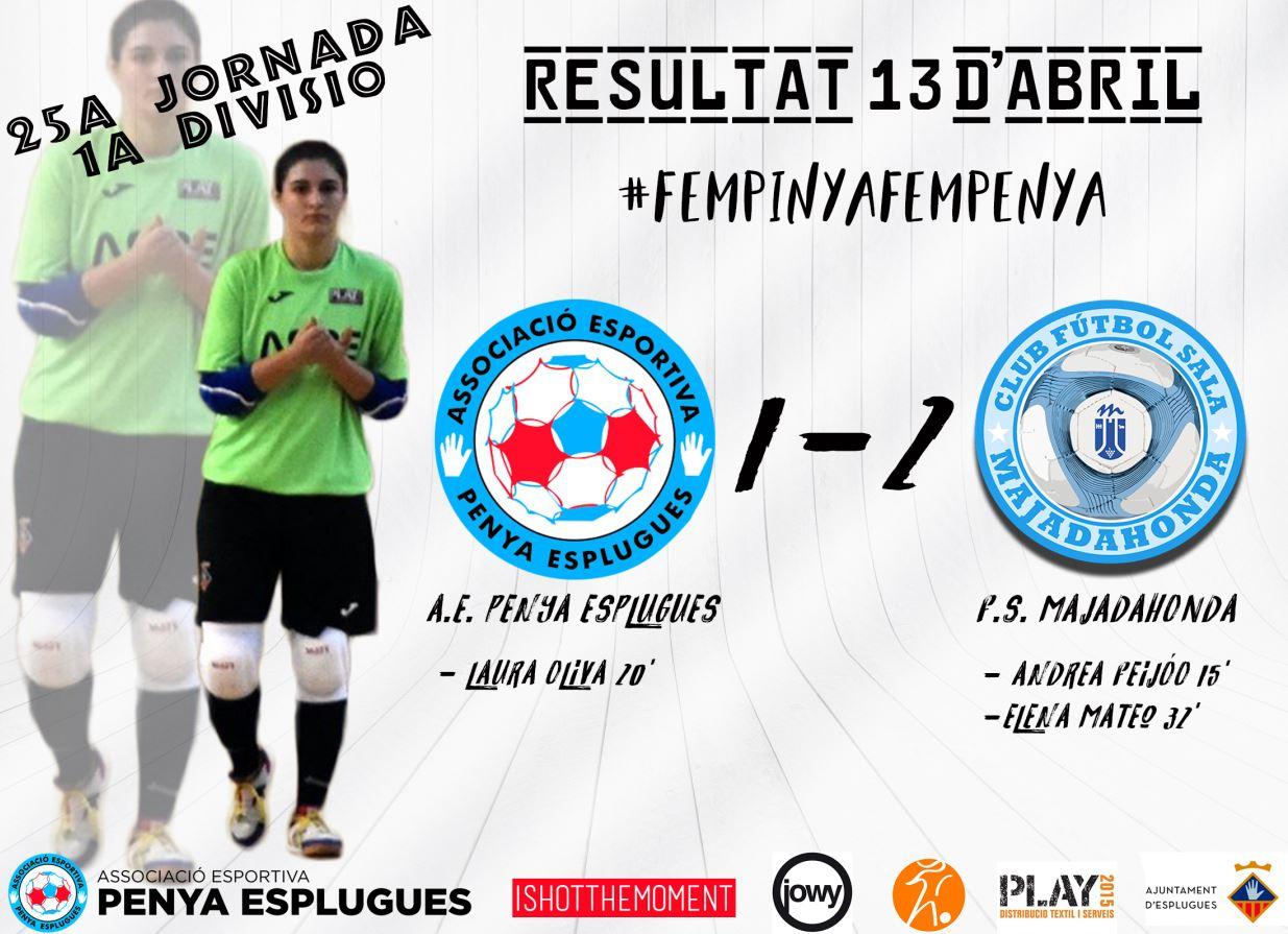 La Penya Esplugues pierde por la mínima (1-2) ante el Majadahonda.