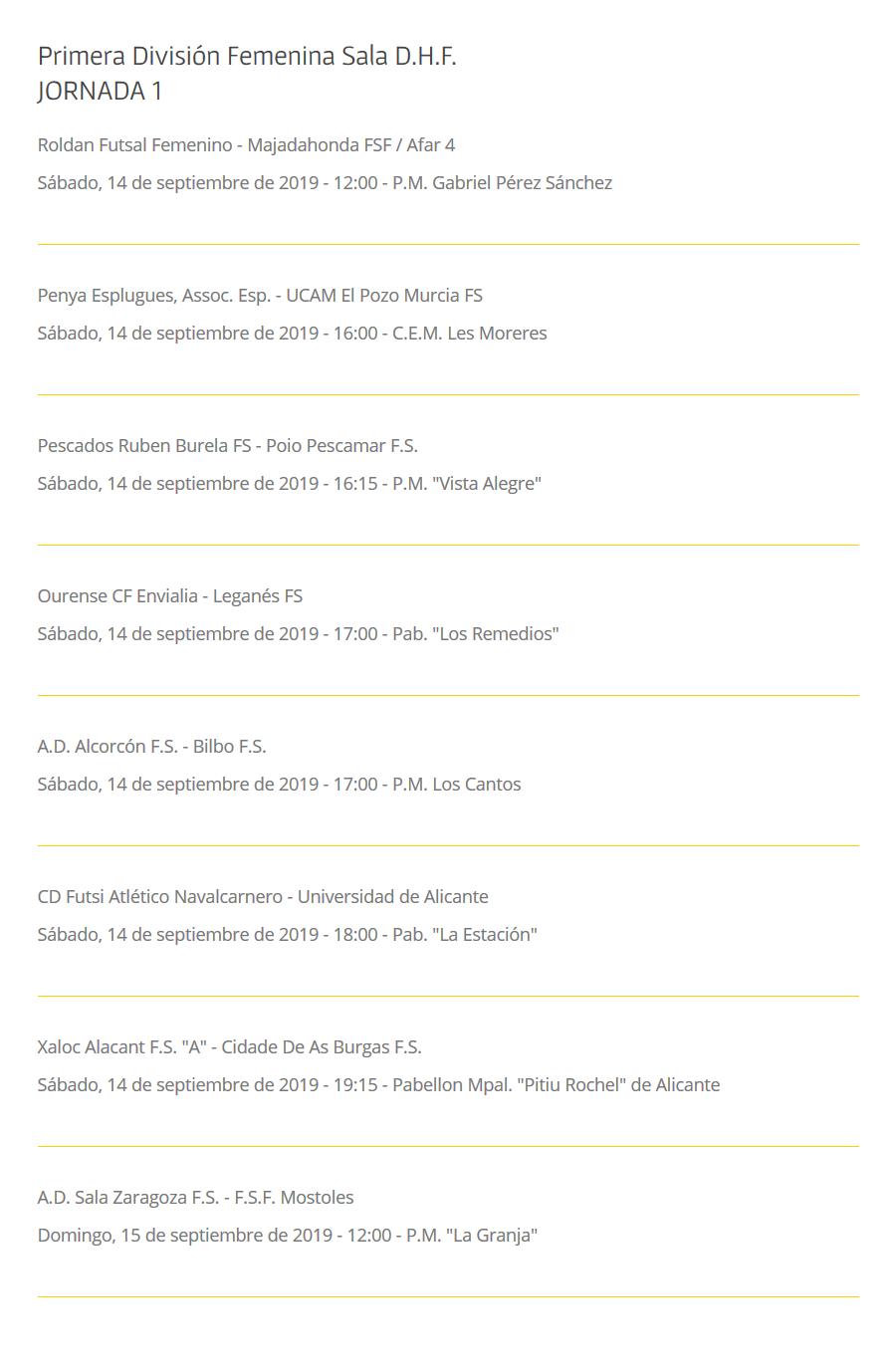 Horarios de Primera División Fútbol Sala Femenino. Temporada 19/20. Jornada 1