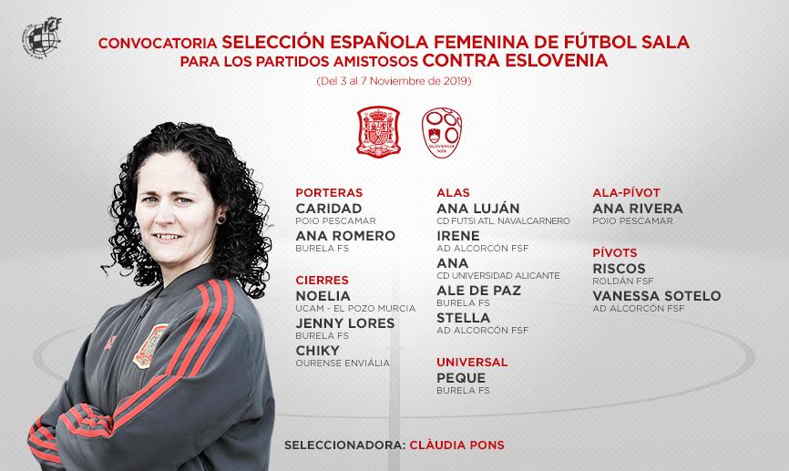 Convocatoria de la Selección española femenina de fútbol sala para los amistosos en Eslovenia