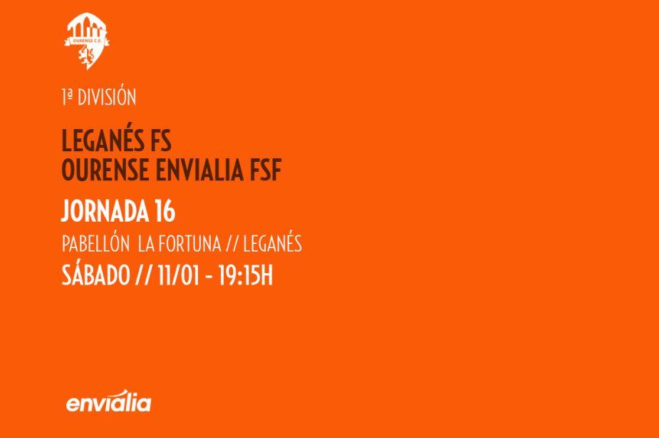 Previa: CD Leganés FS - Ourense Envialia FSF. Jornada 16ª. 1ª Div. Fútbol Sala Femenino