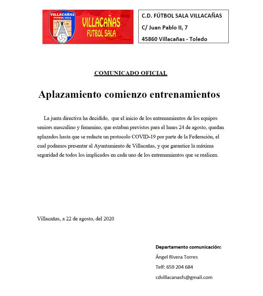 Villacañas Fútbol Sala aplaza sus entrenamientos