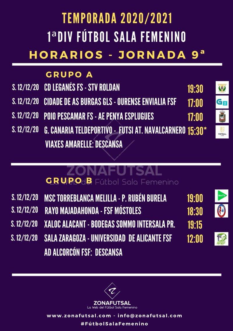 Horarios de la Jornada 9ª en 1ª División de Fútbol Sala Femenino