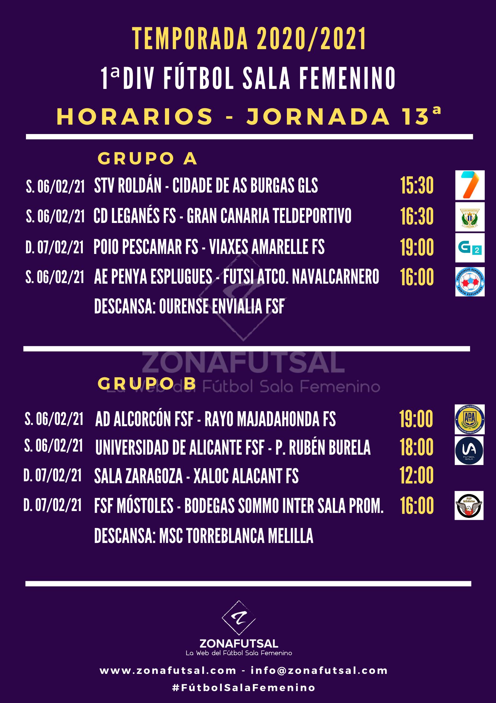 Horarios de la Jornada 13ª en 1ª División de Fútbol Sala Femenino