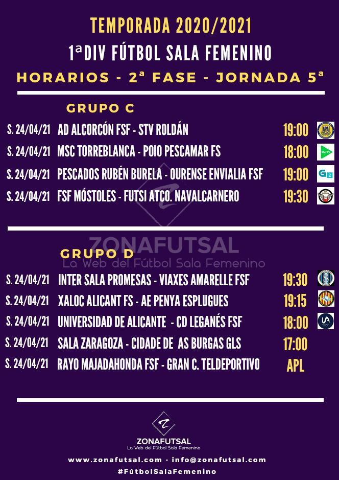 Horarios y Retransmisiones de la 5ª Jornada de la 2ª Fase - 1ª División de Fútbol Sala Femenino