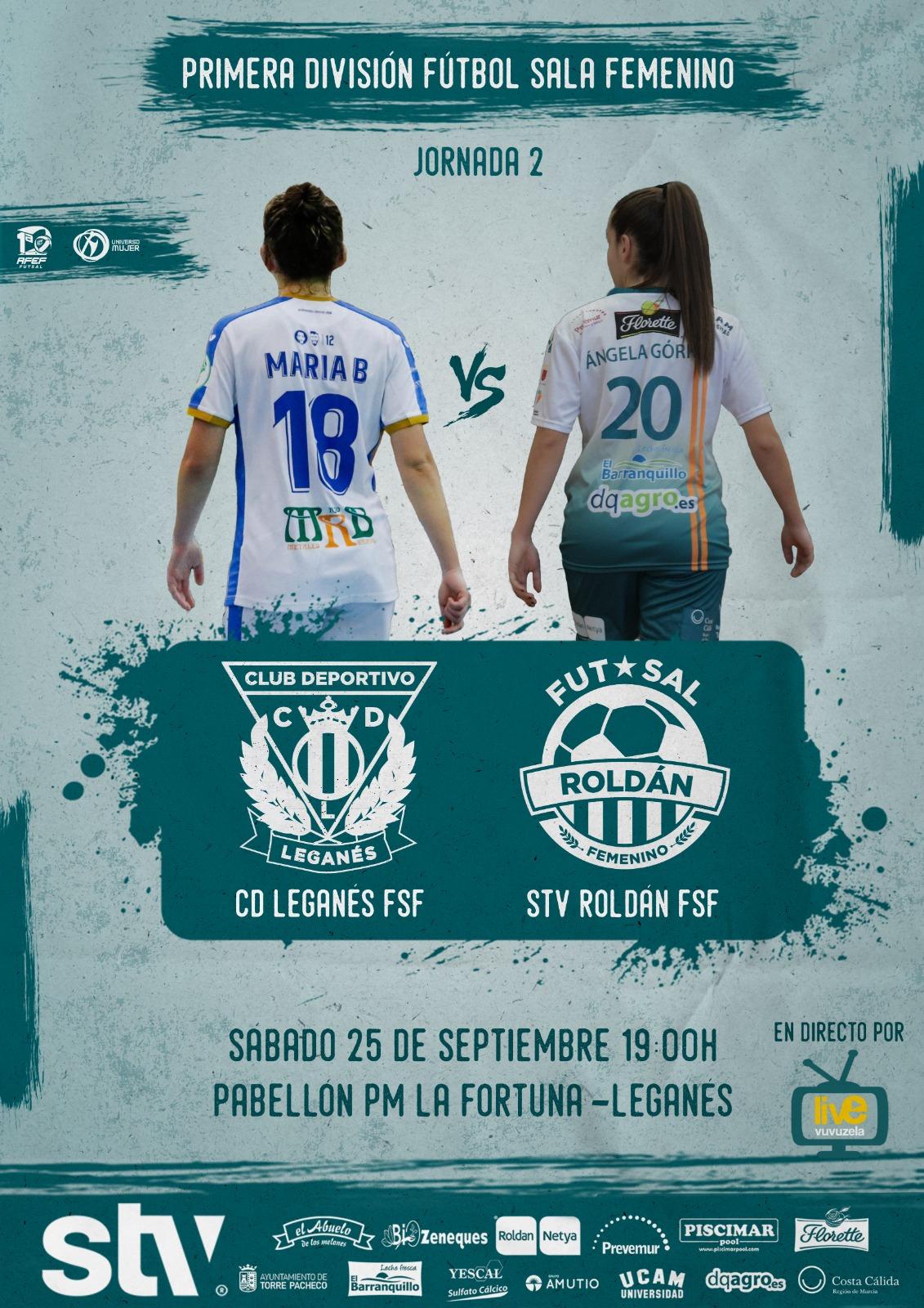 Previa del Partido de Liga de 1ª División: CD Leganés FS - STV Roldán. Jornada 2ª