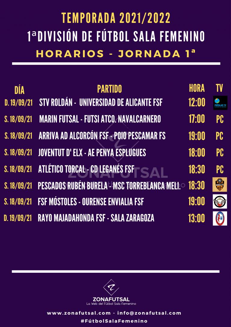 Horarios de la 1ª Jornada de la 1ª División de Fútbol Sala Femenino. Temporada 2021/2022