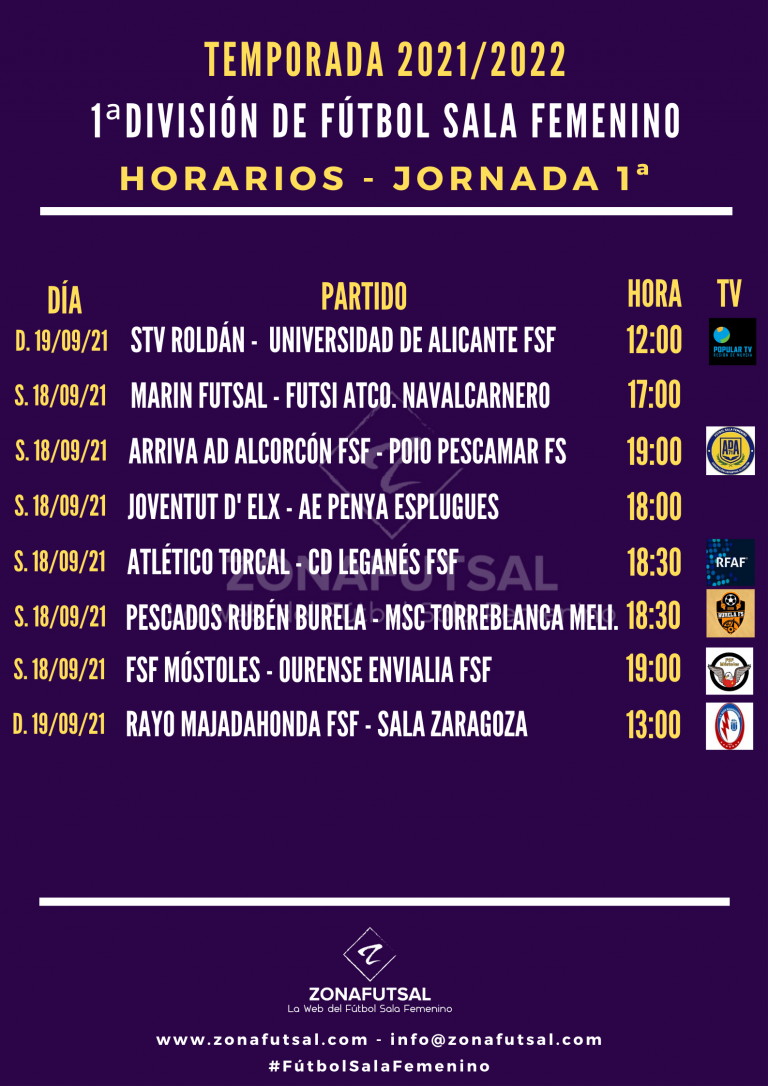 Horarios y Emisiones de la 1ª Jornada de la 1ª División de Fútbol Sala Femenino. Temporada 2021/2022