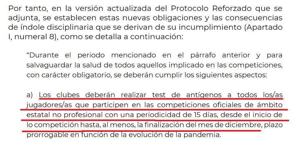 """Actualización del """"Protocolo Reforzado de actuación para la vuelta de las competiciones"""""""