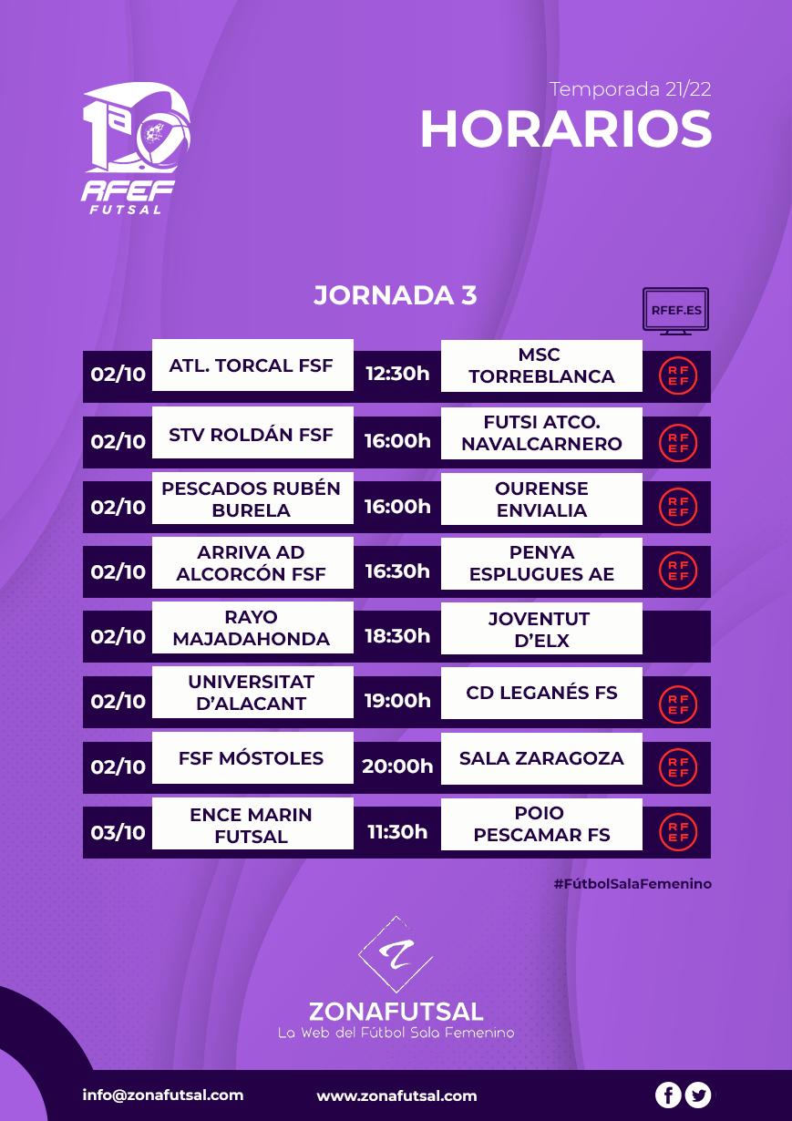 Horarios y Emisiones de la 3ª Jornada de la 1ª División de Fútbol Sala Femenino. Temporada 2021/2022