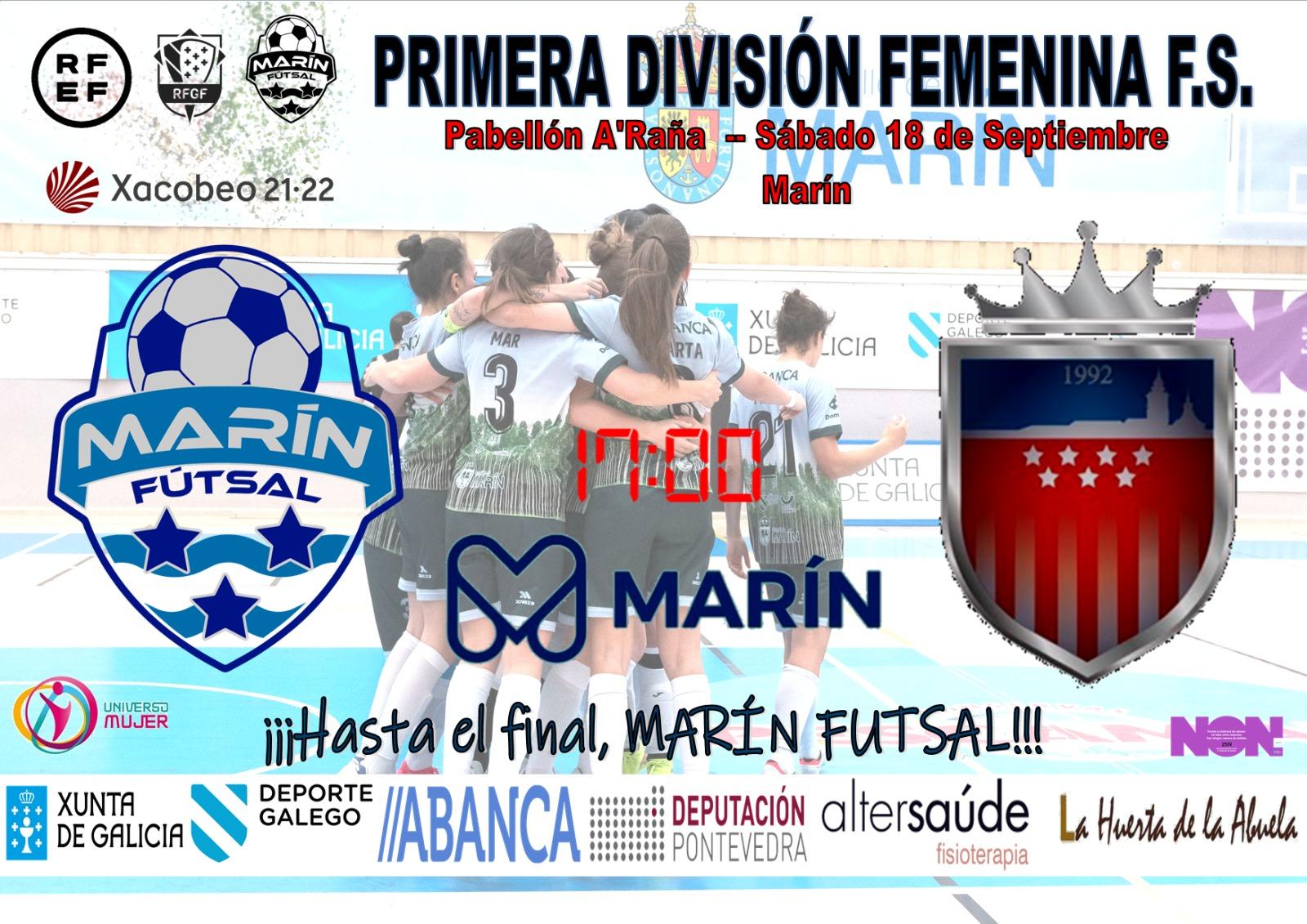 Previa del Partido de Liga: Marín Futsal - Futsi Atco. Navalcarnero. Jornada 1ª